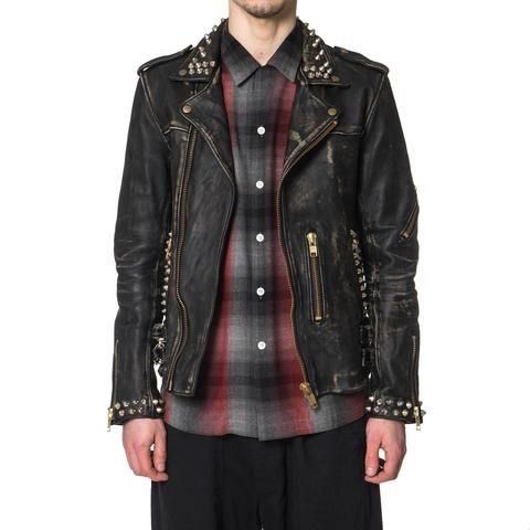blackmeans For HAVEN Vintage Finish Quilted Sheep Leather Classic Riders Jacket with Studs