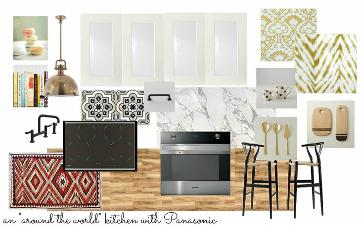 """Nothing beats a bright white kitchen for me, but for this space I wanted to add in a lot of elements to warm it up. My inspiration was """"around the world"""" ... A carrara marble countertop, Moroccan tile backsplash,  kilim rug, great fabrics, french-inspired stools, sweet artwork, cookbooks, a black faucet and handles to ground the white cabinets, and gold accents in the lighting and servingware -- all of these elements bring a cozy feeling to the space. Absolutely my dream kitchen…"""