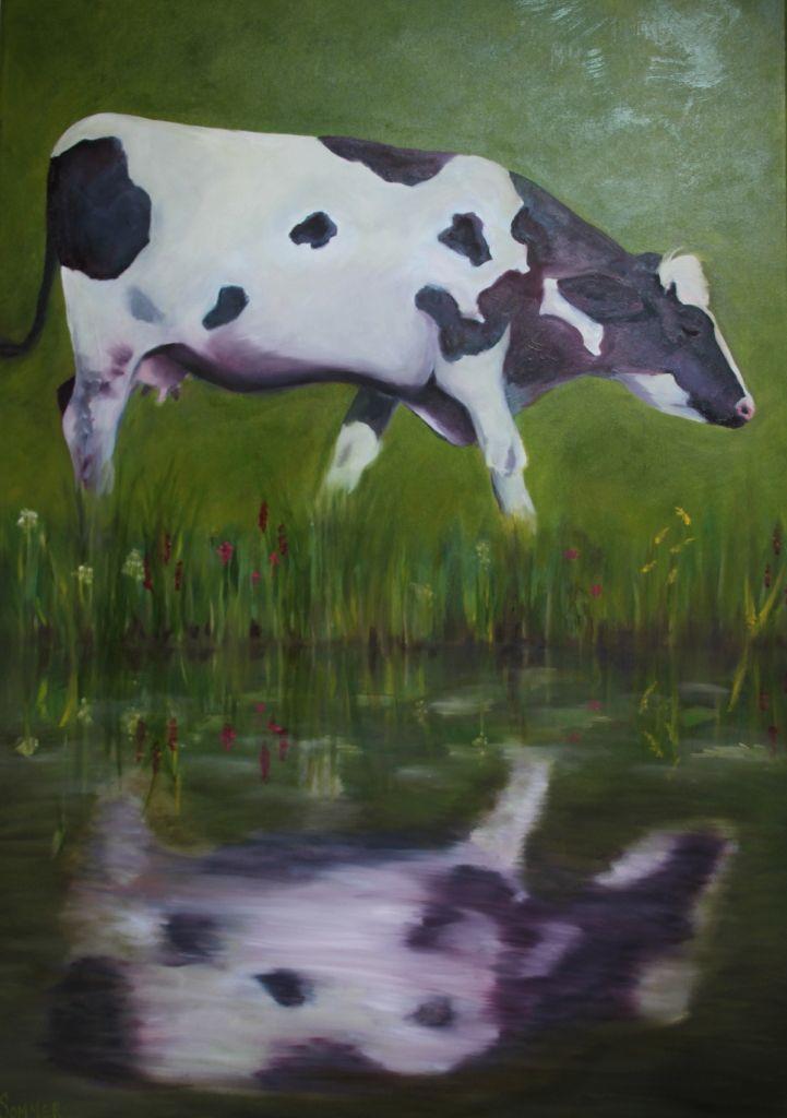 koe in spiegel- olieverf op doek 70x100