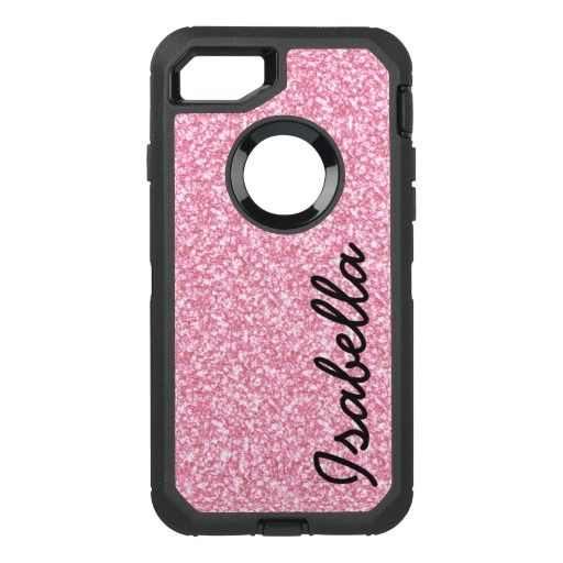 PINK GLITTER PRINTED OtterBox DEFENDER iPhone 7 CASE
