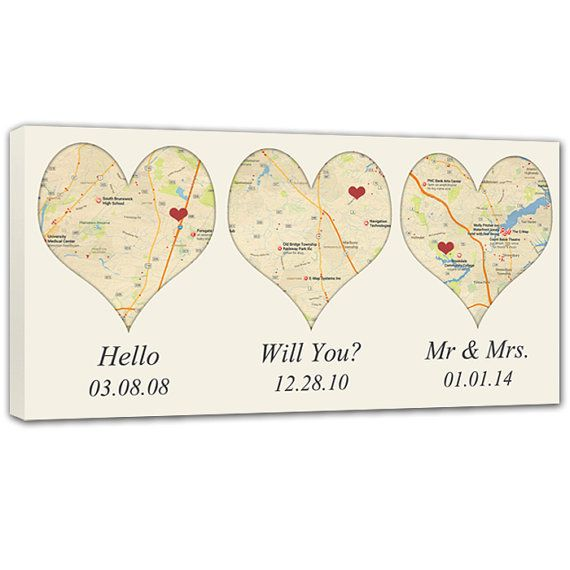 Map Heart Shaped canvas 3 locations Where We Met, engaged and married, Cotton Anniversary Gift