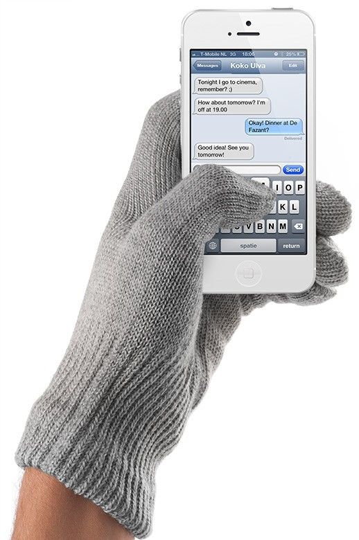 Touchscreen Gloves Natural Gray, winter gloves for touch screens e.g. iPhone and Galaxy by Mujjo