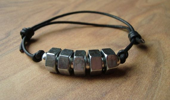 Mens Leather Bracelet - Steel Hex Nuts - Fathers Day Gift - Adjustable Cuff - Black Leather - Mens Jewelry - Unisex - Men's
