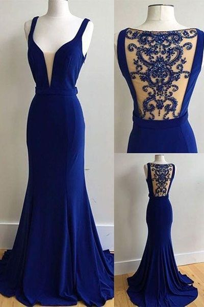 Royal Blue Prom Dresses,See Through  Prom Dress,V-neck Prom Dresses,Sexy Formal Gown,Sleeveless Prom Dress,Cheap Evening Dress,2017 Prom Dress,PD00282