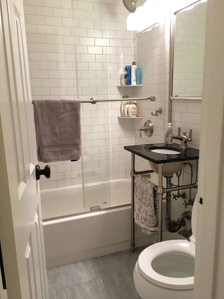 bathroom small space design%0A From Gut to Gorgeous  A Complete Studio Apartment Makeover  u     Makeover   Bathroom LayoutSmall