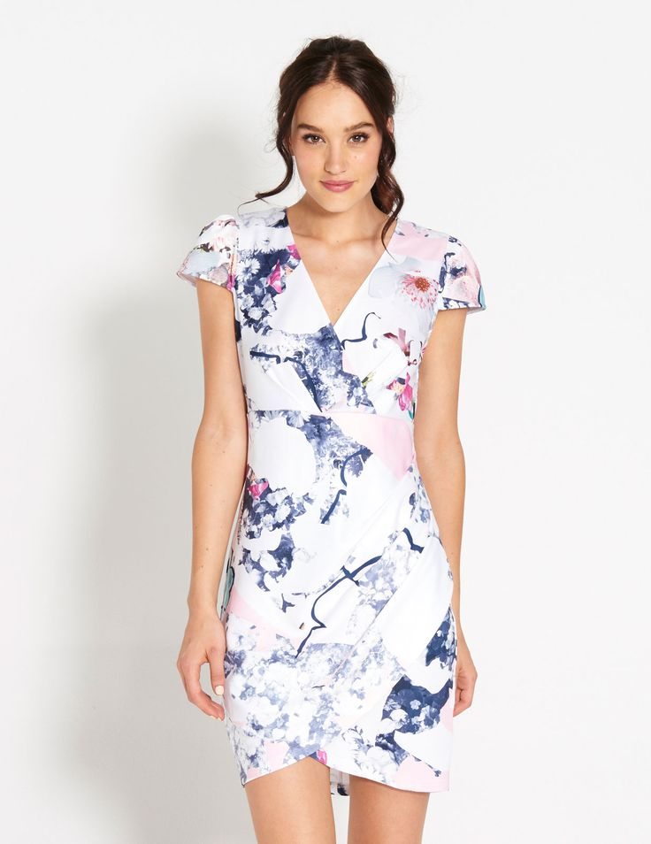 Image for Spliced Grid Floral Wrap Dress from Dotti $79
