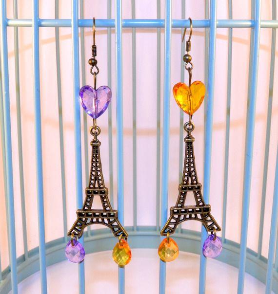 Boucles d'oreilles Tour Eiffel, Boucles d'oreilles Pendantes, Bronze, Boucles d'oreilles Gouttes, Orange/Violet