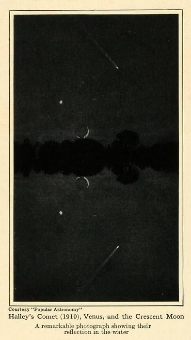 1910, Halley's Comet, Venus and a crescent moon being reflected in water.    The comet appears once every 75 years. Interestingly, Mark Twain was born two weeks after the comet's perihelion in 1835, and was quoted as saying that he would be going out with the comet as well. He died the day after the perihelion in 1910.