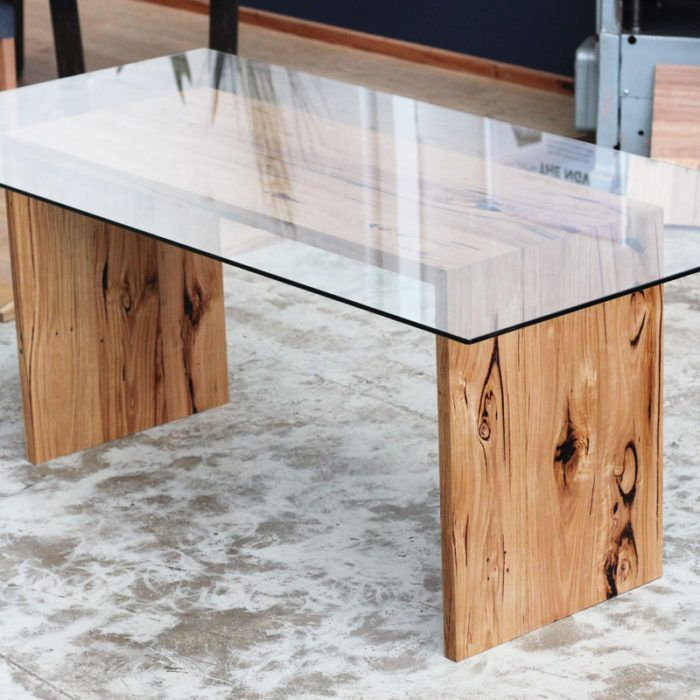 Custom Glass Top Table - YARD Furniture Recycled Timber Furniture Melbourne Australia Custom
