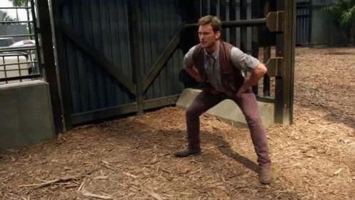 Chris Pratt's Sexy Groin Stretching on the Jurassic World Set Is Beautifully Hypnotic—Watch Now! Chris Pratt stretching GIFs