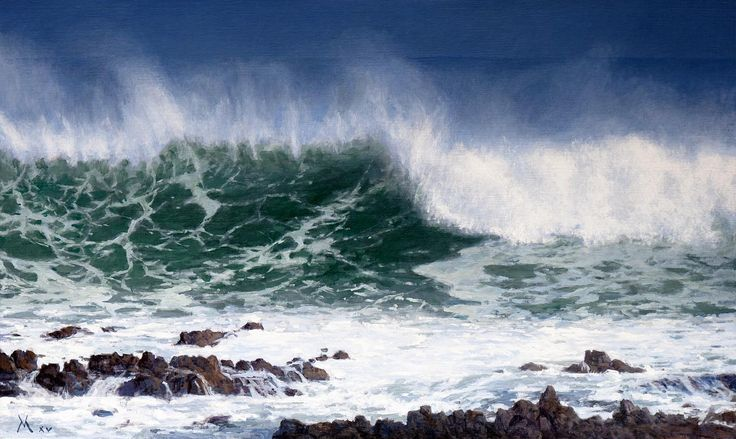 Contemporary oil marine painting from Chile. Entitled 'Mar de Antofagasta' 2015 by Guillermo Muñoz Vera.