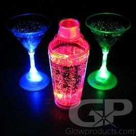 Glowing LED Martini Shaker - Make Bond Night shine with Lighted LED Martini Shakers! - https://glowproducts.com/us/flashingmartinishaker #GlowParty #GlowDrink #Bond #007
