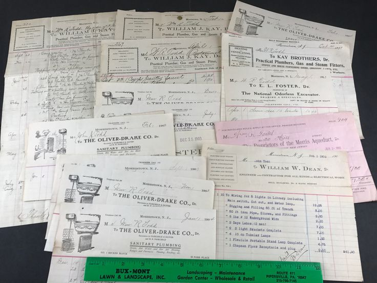 Morristown NJ Lot Antique PLUMBING Illustrated Ad Receipts Paper Ephemera 1800s