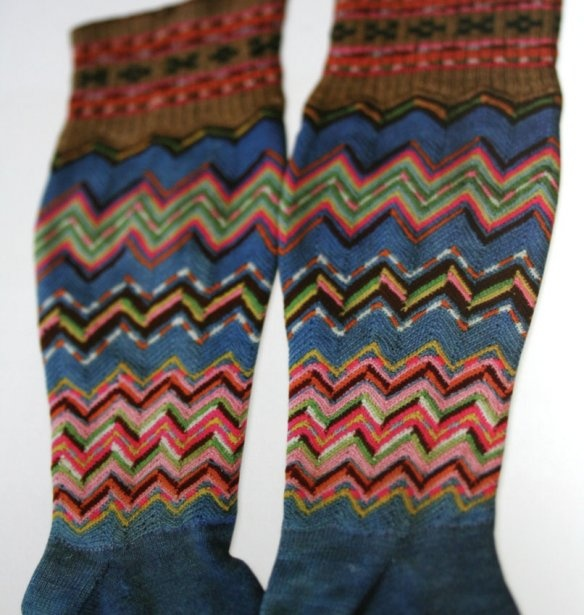 Estonian hand knitted stockings with crocheted calves