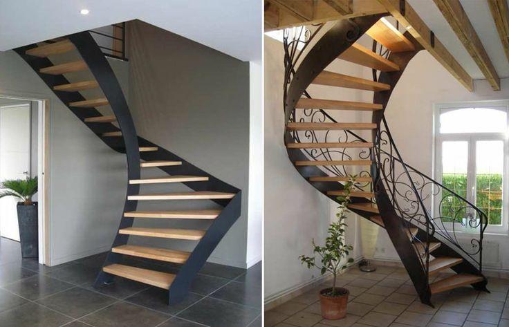 Nos escaliers ferronnerie verre bois ferronnerie metalwork pinterest - Escalier moderne quart tournant ...