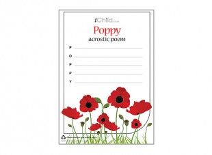 <p>This poppy acrostic poem template can be used to write an imaginative poem for Remembrance Day.</p>