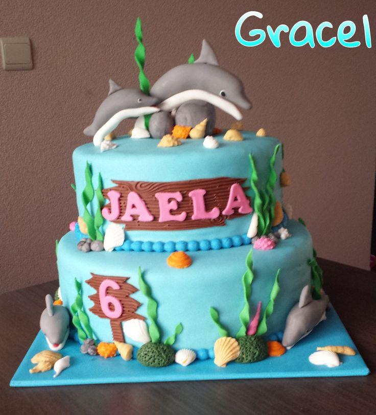 Dolphin cake. dolfijnen taart