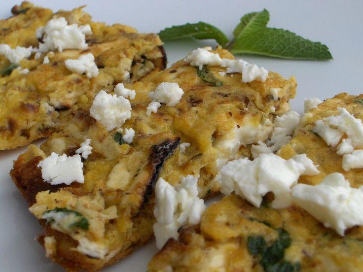 Omelette de pain azyme, feta et menthe