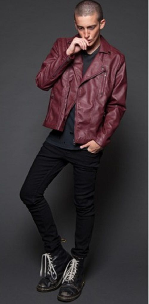 Handmade Mans maroon leather jacket, Men biker jacket,