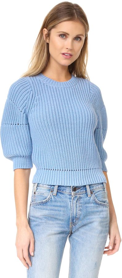 3.1 Phillip Lim Chunky 3/4 Sleeve Sweater | This chunky 3.1 Phillip Lim crop sweater is updated with boxy 3/4 sleeves. Ribbed crew neckline.| #fashion #style #casual #outfit #ootd #stylish