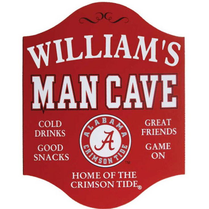 """Collegiate Man Cave Plaque  If you've ever referred to a college sports victory with the term, """"We won,"""" you know what it means to be a true fan of your school. Take that team feeling to the next level by displaying your name alongside your alma mater's colors. Ideal for the game room, den or other man cave where you spend your Saturday's watching the action.   #personalized #personalizedgifts #customized #uniquegifts #lookingfor #custommade #ph #bobblehead #mancave #novelty #sign"""