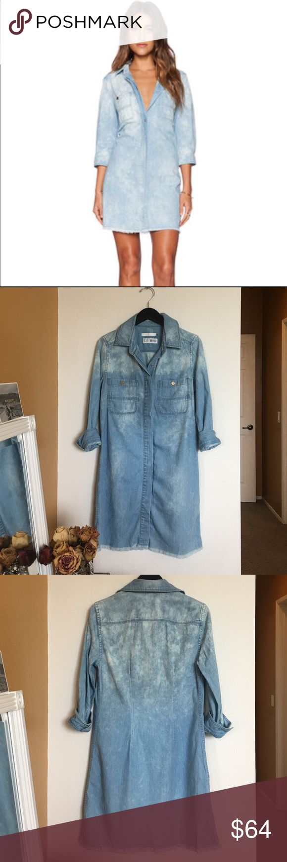 NWOT Bleached Denim Dress 7 for All Mankind denim dress - light blue wash with bleaching all over and raw hem. Great transitional dress for Spring season. You can wear buttoned as a dress or opened up as a duster. Looks amazing paired with tee and white denim! Never worn. 7 For All Mankind Dresses