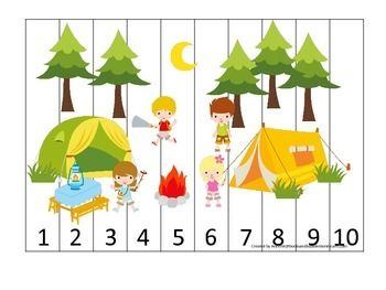 CAMPING THEMED NUMBER SEQUENCE PUZZLE EARLY MATH ACTIVITY FOR PRESCHOOL CHILDREN - TeachersPayTeachers.com