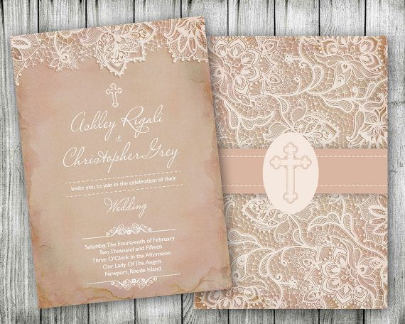 Vintage Lace Christian Wedding Invitations  Wedding by VGInvites