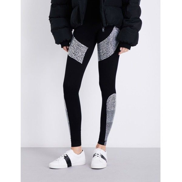 Philipp Plein Crystal-embellished skinny high-rise stretch-jersey... (183.150 HUF) ❤ liked on Polyvore featuring activewear, activewear pants, stretch jersey and philipp plein