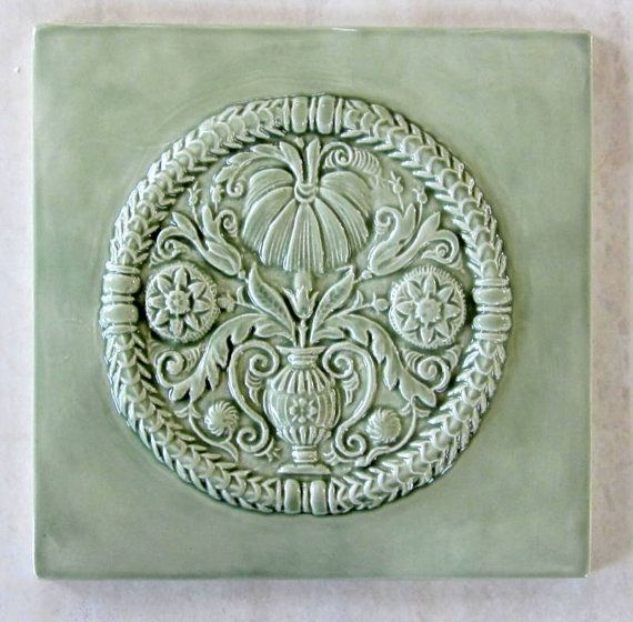 6x6 Ceramic Accent Tile Floral Buttermold by