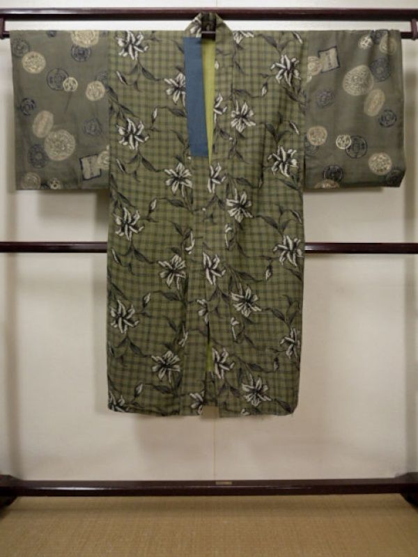Photo1: F1208U Used Japanese  Smoky Olive JUBAN undergarment by Silk. Old Coin  (Grade D)