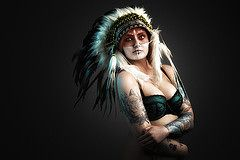 Casper (virtual_tony2000) Tags: portrait girl tattoo canon model wolf indian feathers lingerie headress vision:outdoor=0777