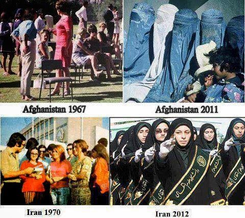 This is what conservative monotheism (particularly the Abrahamic traditions of Islam, Judaism, and christianity) will do to the rights of women if they take over. Evil must be opposed. It is your moral imperative.