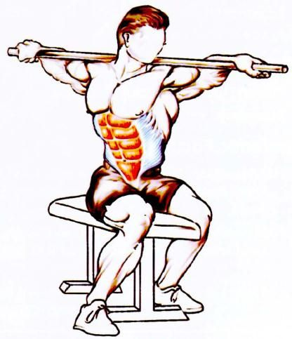 Broomstick Twist - Good exercise for developing side obliques and abs.  Technique - Sit upright on the edge of a flat bench while holding a broomstick behind your neck. Twist your upper body from side to side. When you twist to the right, feel the right oblique muscles contract, and vice versa. Start with 10 repetitions each side and build it upto your maximum.