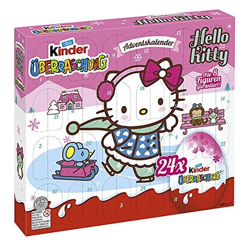 Hello Kitty themed advent calendar with 24 Kinder eggs. 8 special Hello Kitty figurines guarantees. Available from Amazon.de.