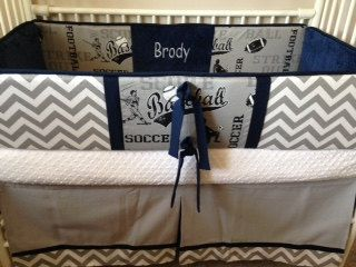 Navy gray sports Baby bedding Boy Crib set DEPOSIT by abusymother