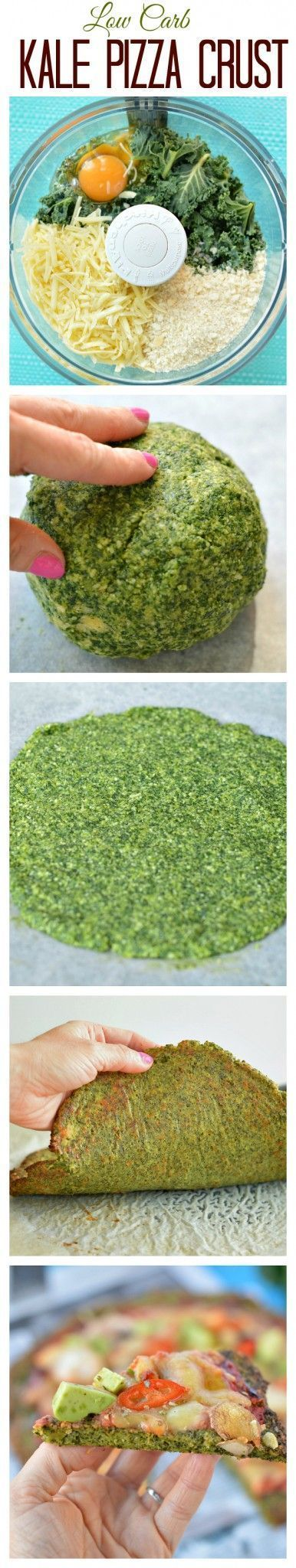 My fav Healthy Pizza Crust ! This Low Carb Kale Pizza Crust is made with only 5 ingredients and take 15 minutes to prepare. #healthy #pizza