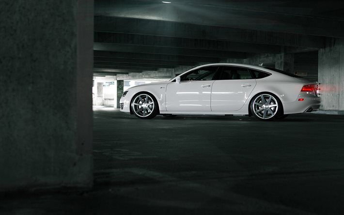 Audi A7 Sportback, Vossen, tuning, white a7, Audi