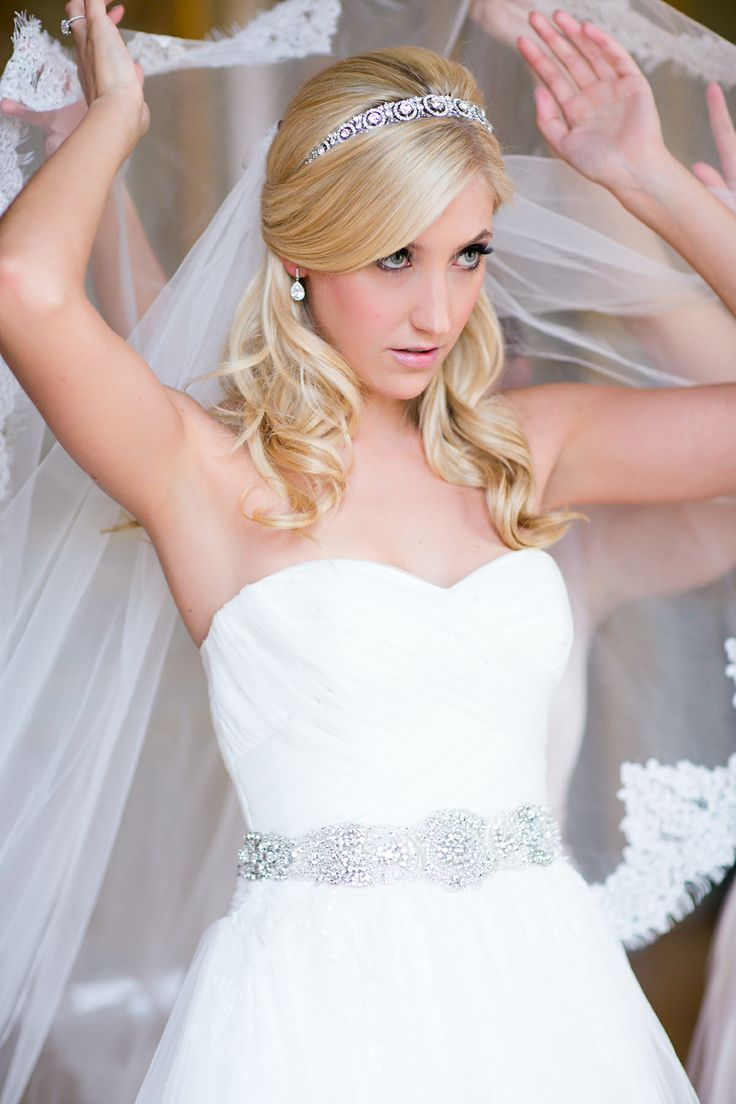 long bridal hair with veil and headband - Google Search