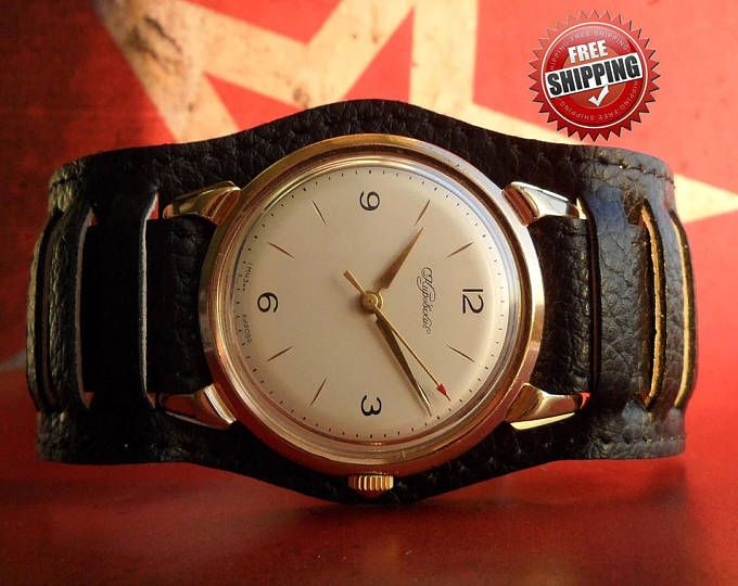 Кировские Советского ретро старинные ювелирные изделия редкие часы наручные механические часы мужские СССР мужские часы кожа часы подарок отца подарок для него часы