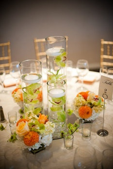 Wedding, Flowers, Green, Orange