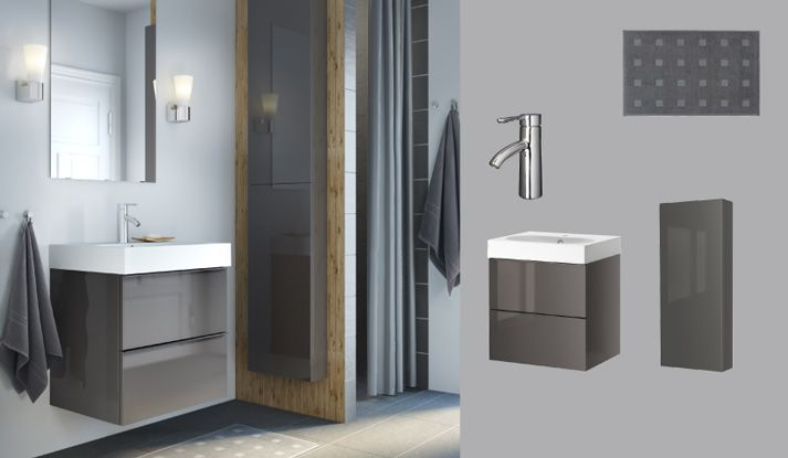 Love the gray fixtures against a sea salt/muted robin's egg blue. GODMORGON/BRÅVIKEN grey high-gloss wash-stand with two drawers and DALSKÄR mixer tap