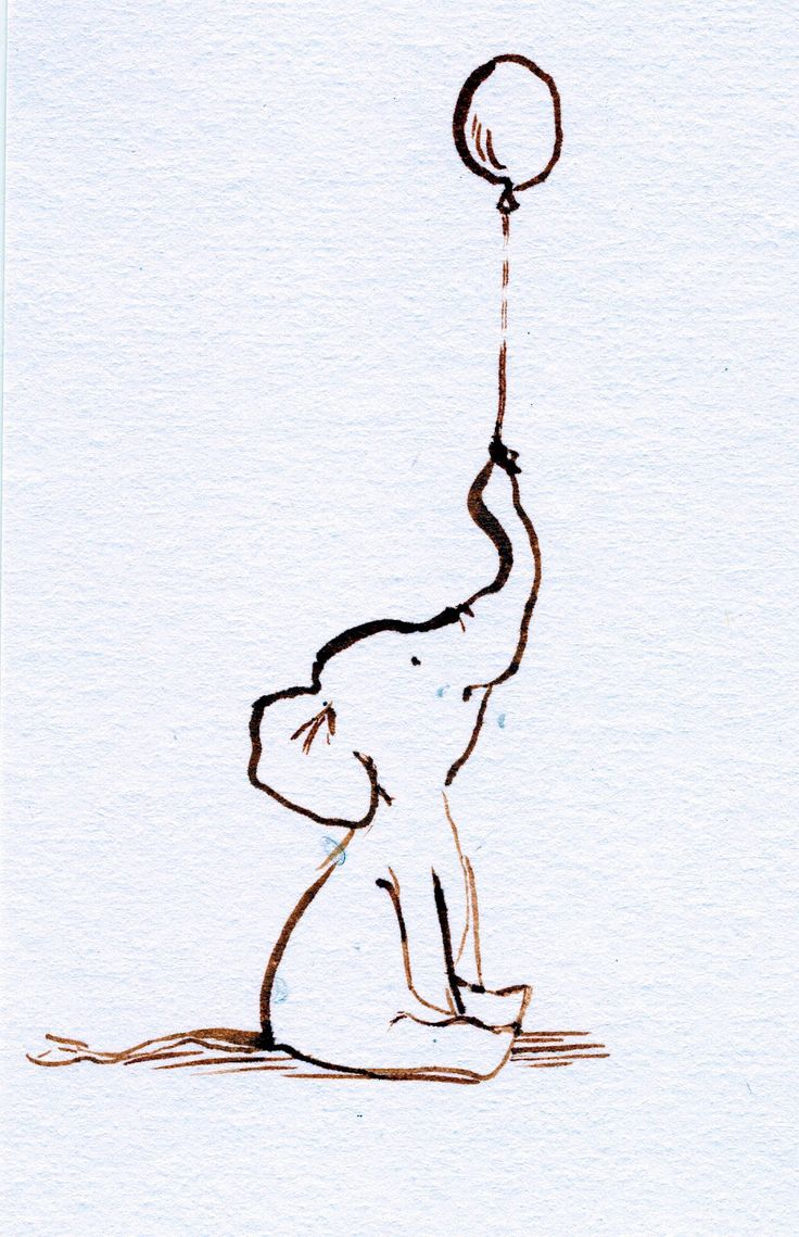 baby elephant with balloon sketch | Mother and Baby Elephant Drawing