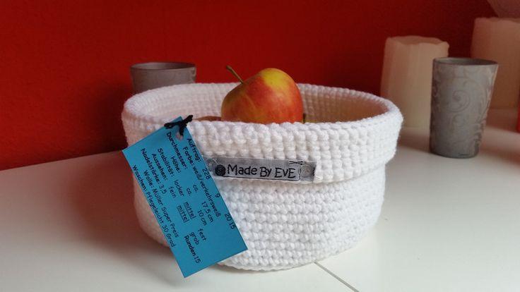 Körbe - Körbchen mit Umschlag L gehäkelt weiß 17,5 cm - ein Designerstück von EvE-Paris bei DaWanda