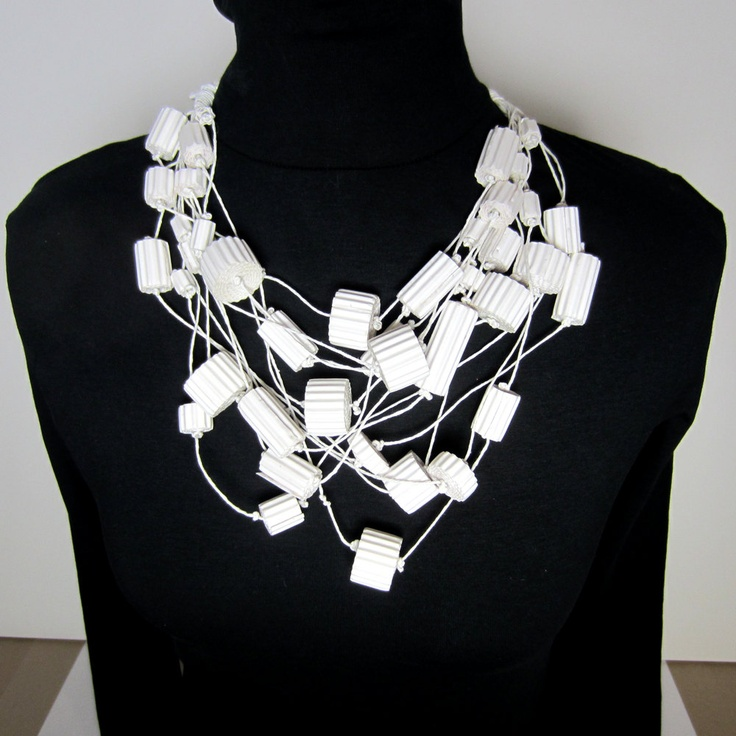 OoaK - Statement Bib Necklace - white wearable Art. 180€, via Etsy. by  dorisse  Munich, Germany