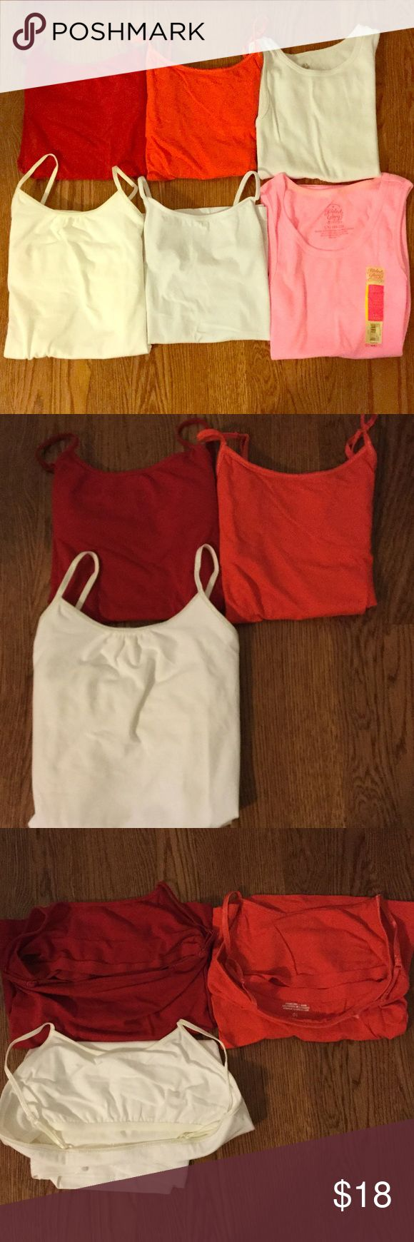 6 size 10, and 10-12 Camis, 3 have bra shelves! The three in the second photo have bra shelves: Red- 10, Orange- 10, Cream- 10-12. The white (without spaghetti straps)- 10, the white (with spaghetti straps)- 10-12, the neon pink- (NWT) 10-12--do not have bra shelves. Lightly warn, + machine washable. I wash all of the clothes + iron them before shipping them. $18 for all 6 camis. 2 camis for $6, 3 for $9, 4 for $12, 5 for $15. Very comfortable + warm, good to wear underneath sweaters and…