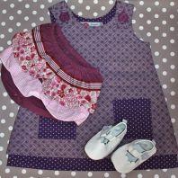 Baby shower gift set - bloomers, shweshwe dress and white leather shoes