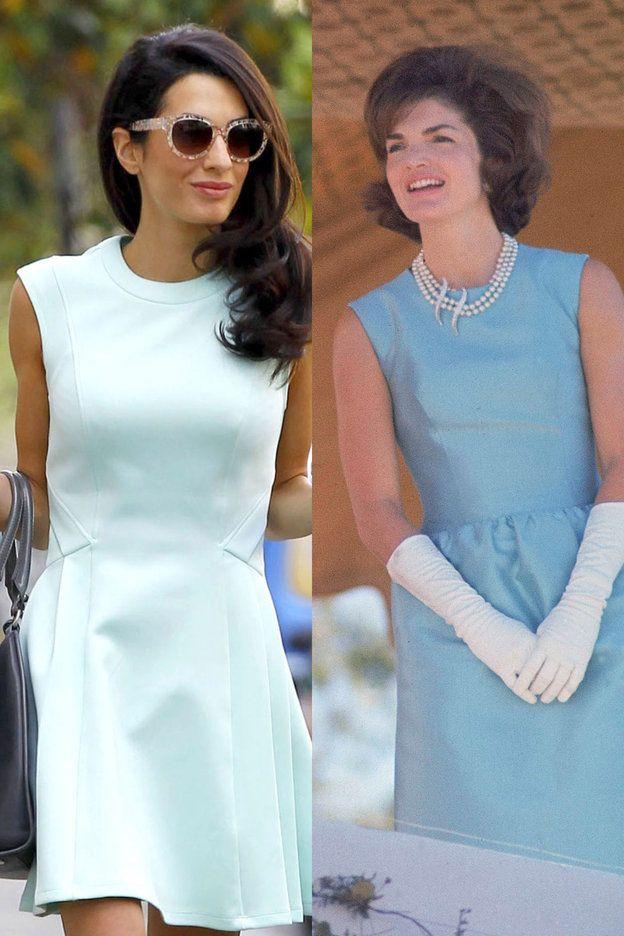 【ELLE】可憐なペールブルーのドレス|デキる女の代表! アマル・クルーニー&ジャクリーン・ケネディのそっくりルックを徹底検証|エル・オンライン
