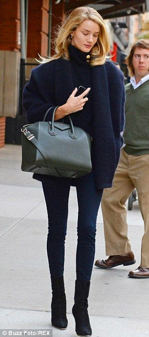 Fall #streetstyle | Rosie Huntington-Whiteley in a Balmain coat, sweater & shoes and Givenchy tote