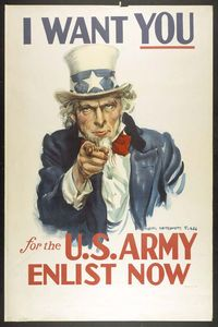 """NOTIFY (v) - to inform (someone) or give notice to.  (""""I Want You"""" Poster/James Montgomery Flagg, 1916)"""